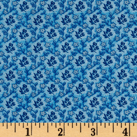 Reproduction Petite Calico Floral Bue Fabric