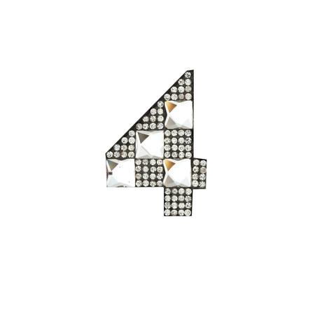 Rhinestone Applique Number 4 2 1/4 x 1 3/4'' Crystal