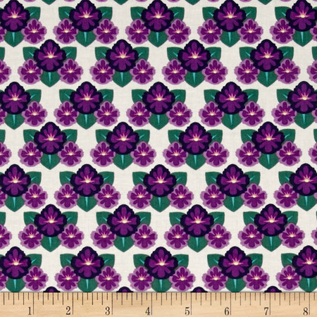 Rhode Island State Flower Violet White/Green/Purple Fabric By The Yard