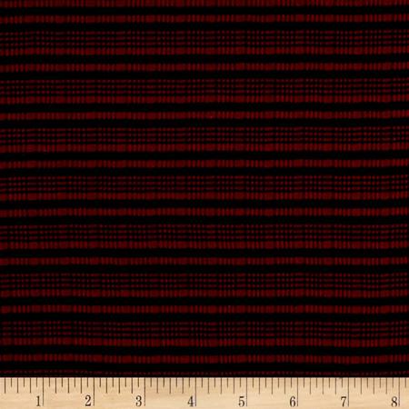 Rib Knit Stripe Red/Black Fabric By The Yard