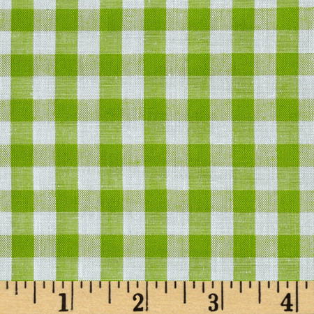 Richcheck 60'' Gingham Check 1/4'' Lime Fabric By The Yard