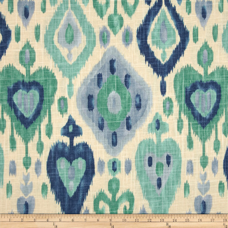 Richloom Django Ikat Blend Turquoise Fabric By The Yard