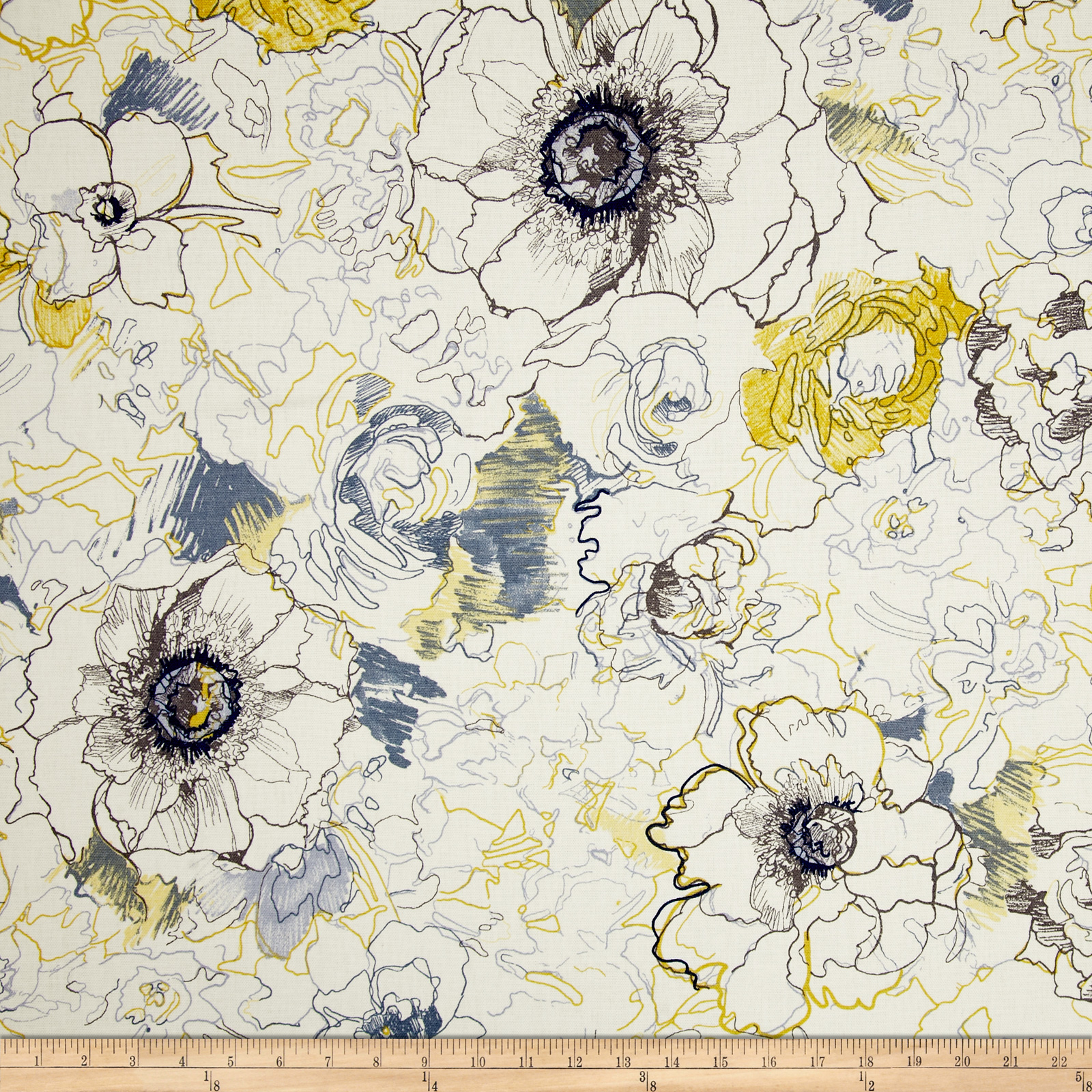 Richloom Ellery Floral Denim Fabric By The Yard | Fabrics Australia