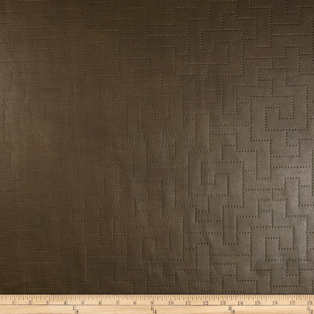 Richloom Faux Leather Greek Key Koronis Slate Brown Fabric