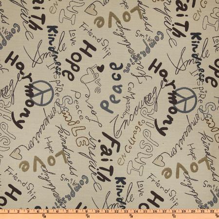 Richloom Peace Script Jacquard River Fabric