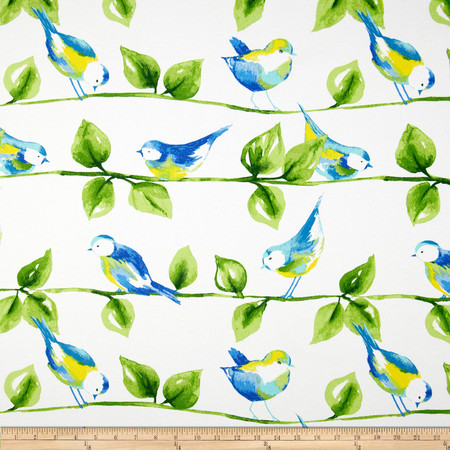 Richloom Solar Outdoor Curious Birds Garden Fabric By The Yard