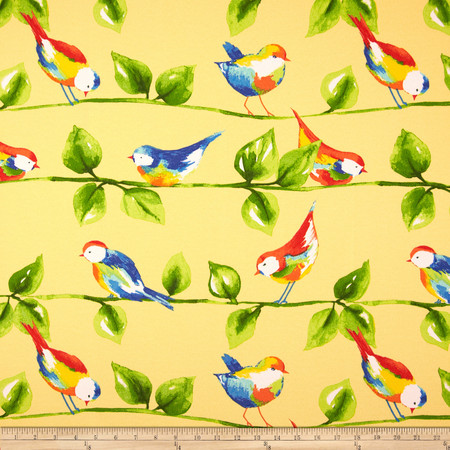 Richloom Solar Outdoor Curious Birds Soleil Fabric By The Yard