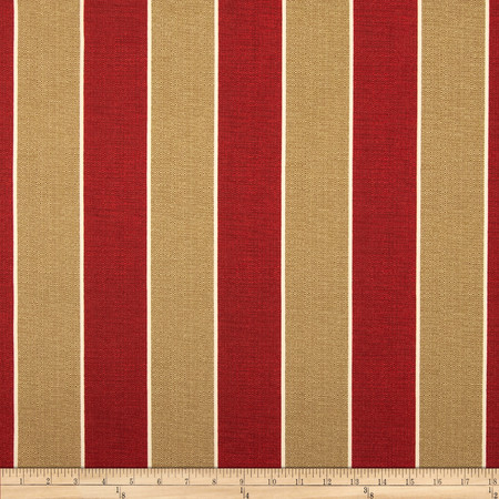 Richloom Solar Outdoor Wickenburg Stripe Cherry Fabric By The Yard