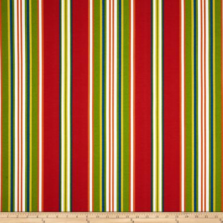 Richloom Solarium Outdoor Kasmira Stripe Red/Multi Fabric By The Yard