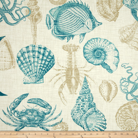 Richloom Solarium Outdoor Sealife Turquoise Fabric By The Yard