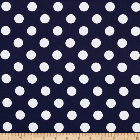 Riley Blake 108'' Wide Medium Dot Navy Fabric By The Yard