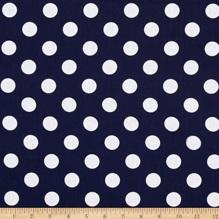Riley Blake 108'' Wide Medium Dot Navy Fabric By The Yard