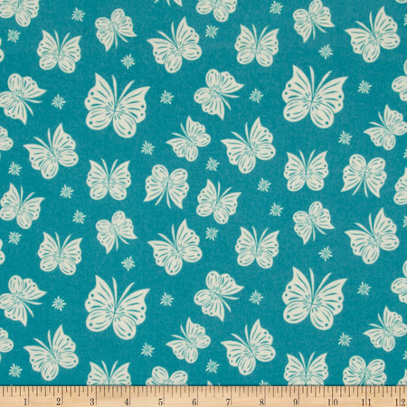 Riley Blake Acorn Valley Flannel Flutter Teal Fabric By The Yard