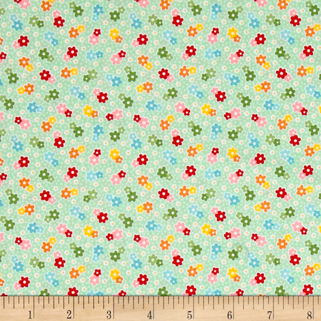 Riley Blake Backyard Roses Floral Mint Fabric By The Yard