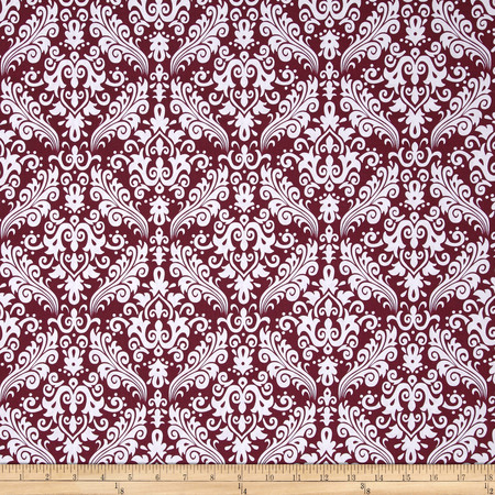 Riley Blake Basics Medium Damask Burgundy Fabric