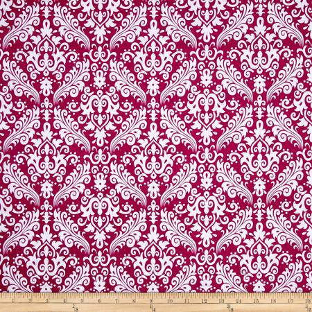 Riley Blake Basics Medium Damask Fuchsia Fabric