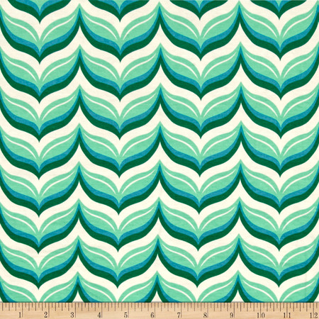 Riley Blake Cotton Jersey Knit Acorn Leafy Chevron Teal Fabric By The Yard