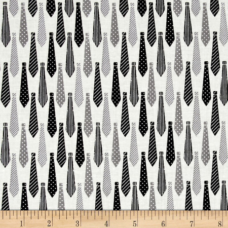 Riley Blake Designer Novelty Ties Black Fabric By The Yard