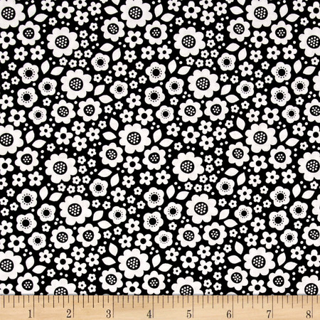 Riley Blake Dot & Dash Flowers Black Fabric