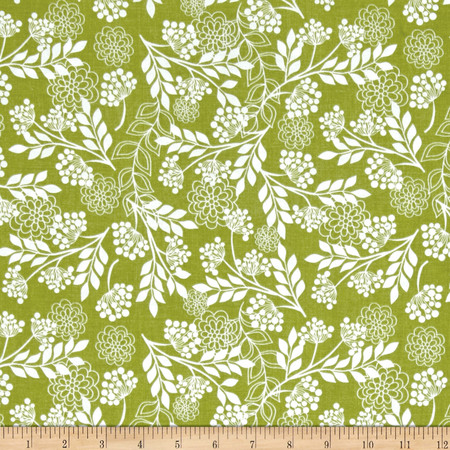 Riley Blake Fantine Floral Green Fabric By The Yard