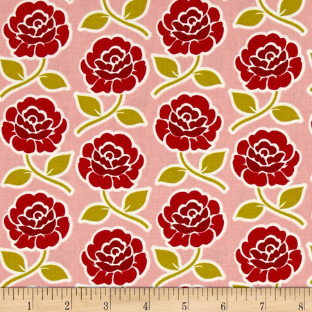 Riley Blake Farm Girl Rose Trellis Pink Fabric By The Yard