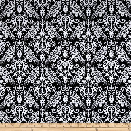 Riley Blake Flannel Medium Damask Black Fabric