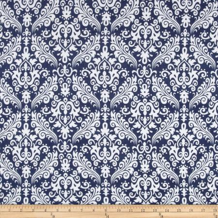 Riley Blake Flannel Medium Damask Navy Fabric