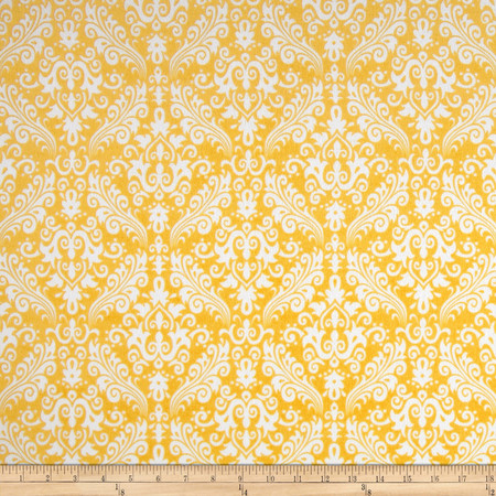 Riley Blake Flannel Medium Damask Yellow Fabric