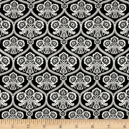 Riley Blake Happy Haunting Damask Black Fabric