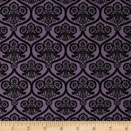 Riley Blake Happy Haunting Damask Purple Fabric