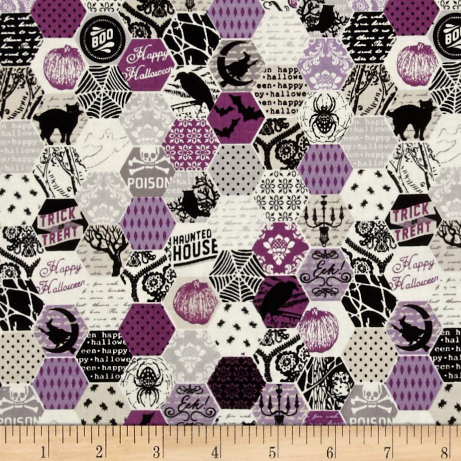 Riley Blake Happy Haunting Hexagon Purple Fabric