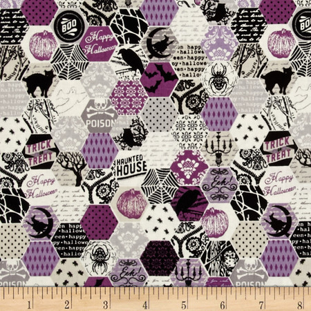 Riley Blake Happy Haunting Hexagon Purple Fabric