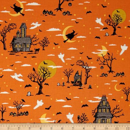 Riley Blake Happy Haunting Main Orange Fabric By The Yard