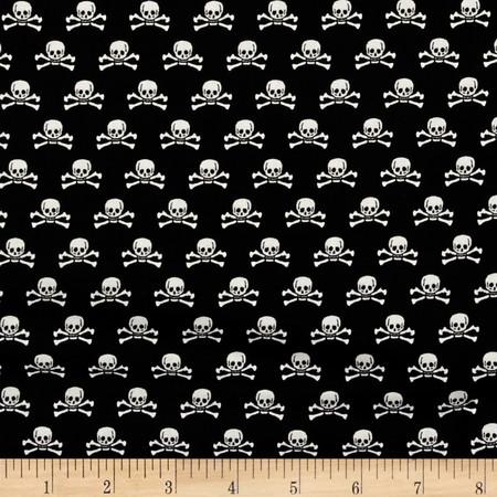 Riley Blake Happy Haunting Skull Black Fabric