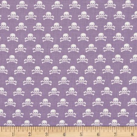 Riley Blake Happy Haunting Skull Purple Fabric By The Yard