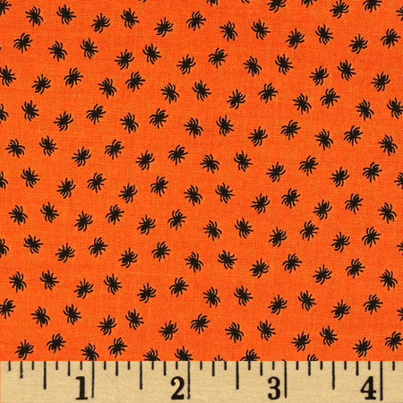 Riley Blake Happy Haunting Spider Orange Fabric