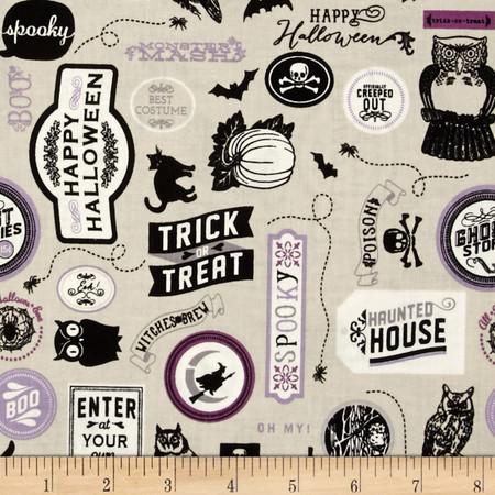 Riley Blake Happy Haunting Sticker Purple Fabric