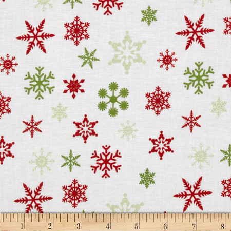 Riley Blake Holiday Snowflakes White Fabric By The Yard