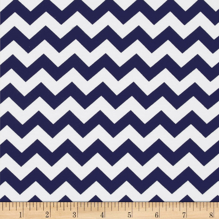 Riley Blake Jersey Knit Chevron Small Navy Fabric By The Yard
