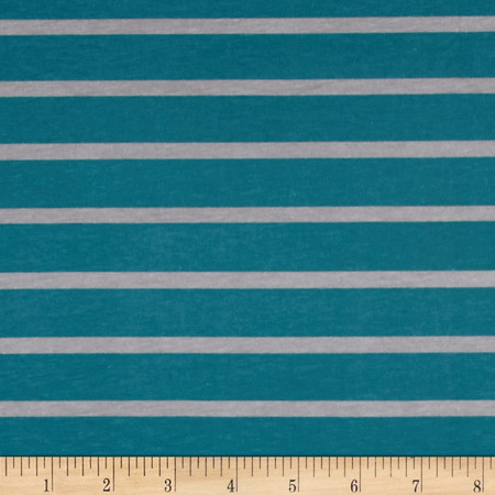 Riley Blake Knit Stripe Gray/Teal Fabric By The Yard