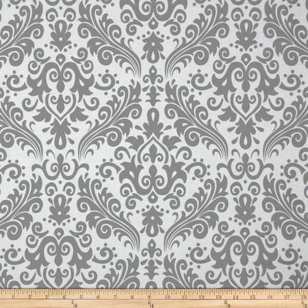 Riley Blake Large Damask White/Grey Fabric