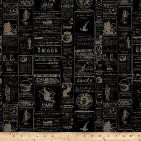 Riley Blake Lost & Found Halloween Newsprint Black Fabric By The Yard