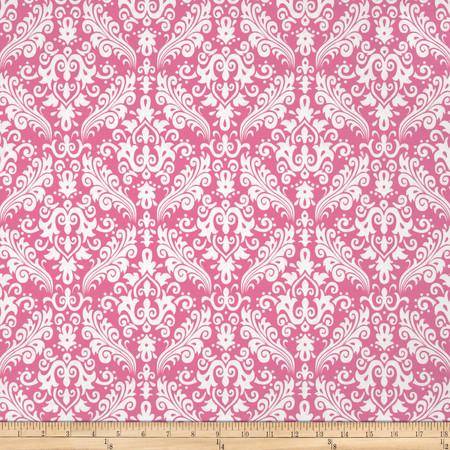 Riley Blake Medium Damask Hot Pink Fabric