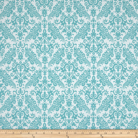 Riley Blake Medium Damask White/Aqua Fabric