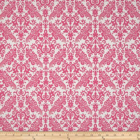Riley Blake Medium Damask White/Hot Pink Fabric