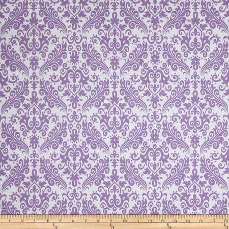Riley Blake Medium Damask White/Lavendar Fabric