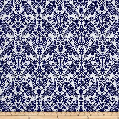 Riley Blake Medium Damask White/Navy Fabric By The Yard