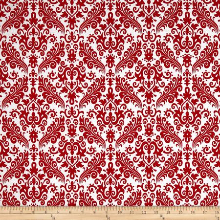 Riley Blake Medium Damask White/Red Fabric
