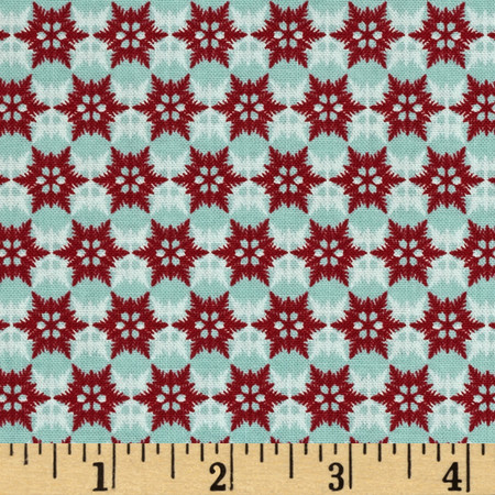 Riley Blake Postcard for Santa Snowflake Teal Fabric By The Yard