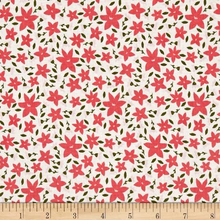 Riley Blake Posy Garden Floral Cream Fabric By The Yard